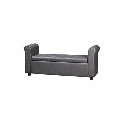 banquette bout de lit et poufs gris achat vente. Black Bedroom Furniture Sets. Home Design Ideas