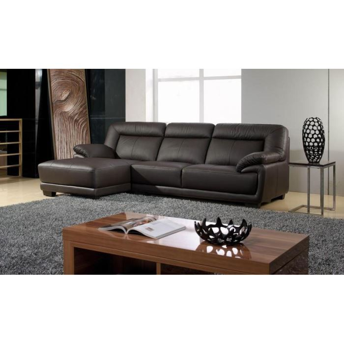 canap design angle gauche cuir chocolat andy achat vente canap sofa divan cdiscount. Black Bedroom Furniture Sets. Home Design Ideas