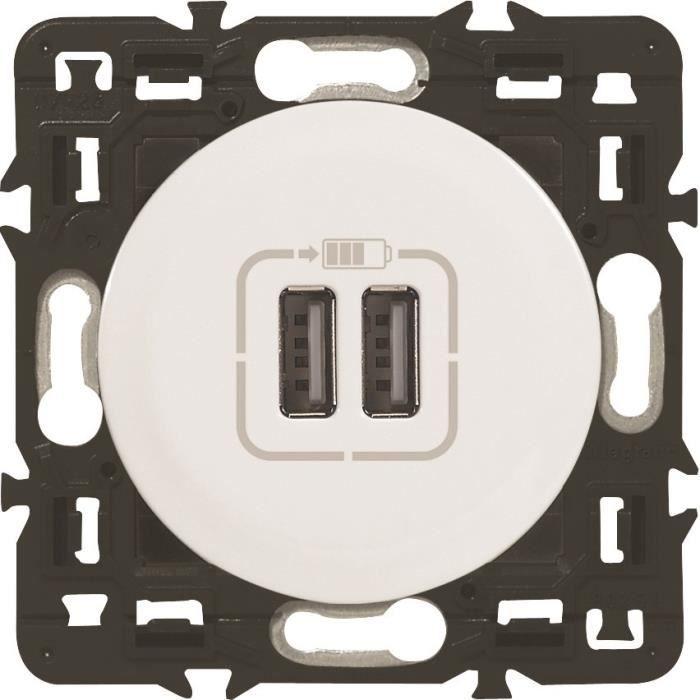 250 V Legrand 099508 C/éliane Prise avec terre//deux prises USB Blanc