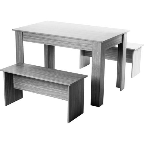 ensemble repas table et 2 bancs bois gris achat vente salon de jardin ensemble repas. Black Bedroom Furniture Sets. Home Design Ideas