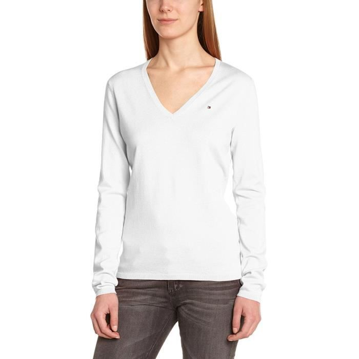 TOMMY HILFIGER - Pull Col V pour femme 1M57637066 (blanc - XS) Blanc ... 6114728ba64