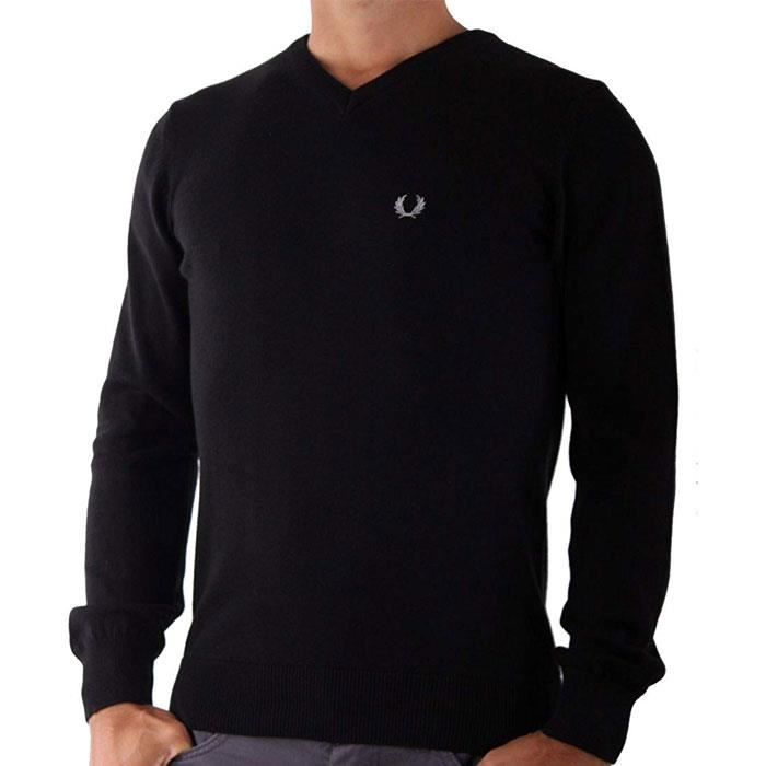 Pull FRED PERRY pas cher homme col V noir