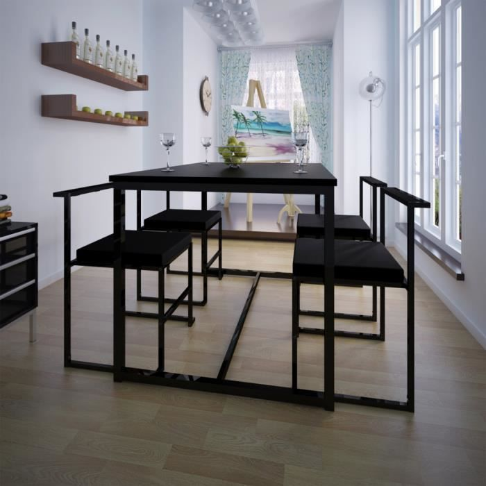 table de salle manger et 4 chaises noir mdf achat vente table de cuisine table de salle. Black Bedroom Furniture Sets. Home Design Ideas