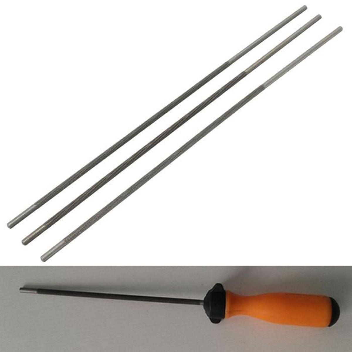 4 mm Chainsaw scie ronde Sharpener avec poign/ée fichiers plastique orange pour Boiseries