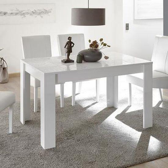 Salle à manger blanche laquée buffet 3 portes + table design ELMA Blanc L  180 x P 90 x H 79 cm