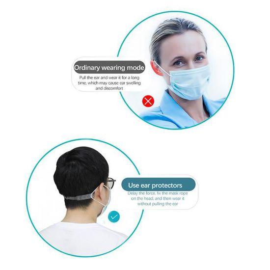 EXCEART 20 Pcs Masque Extenseur R/églable Anti-D/érapant Anti-Serrage Protecteur doreille pour Soulager La Pression Et La Douleur des Oreilles de Longue Dur/ée