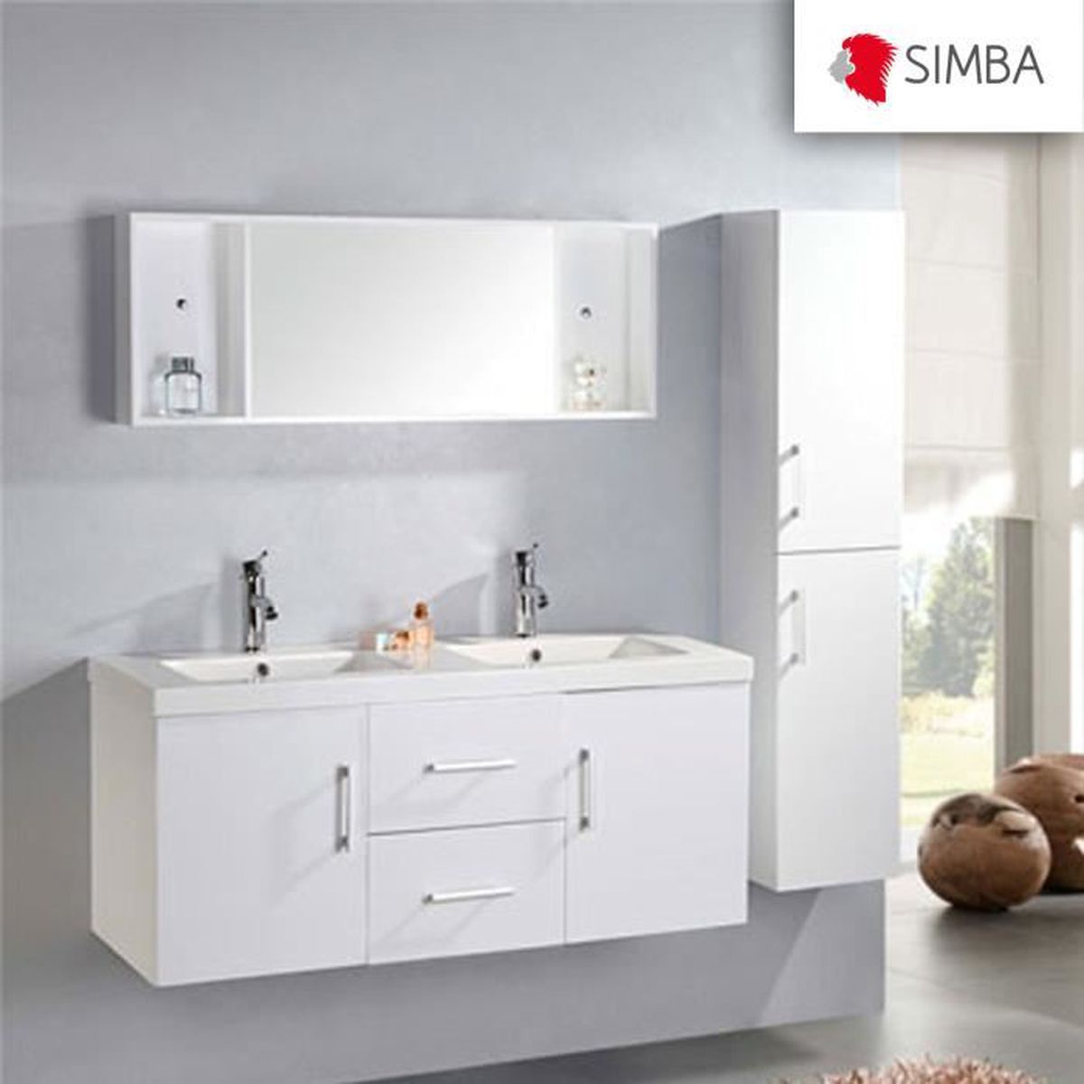 meuble salle de bain 120 cm blanc colonne vasque robinetterie w malibu ensemble comme dans la. Black Bedroom Furniture Sets. Home Design Ideas