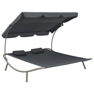 CHAISE LONGUE FIHERO Chaise longue double d'extérieur avec auven