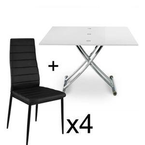 TABLE À MANGER COMPLÈTE Table basse relevable Blanc laqué et lot de 4 chai