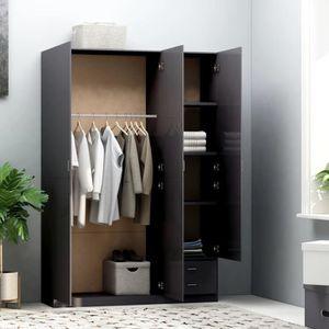 vidaXL Garde-robe M/étal de Style Industriel 90x45x180 cm Noir Armoire Bureau