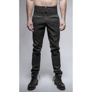 Pantalon sangles gothique punk fashion rayé oeillets tête de mort PunkRave Homme