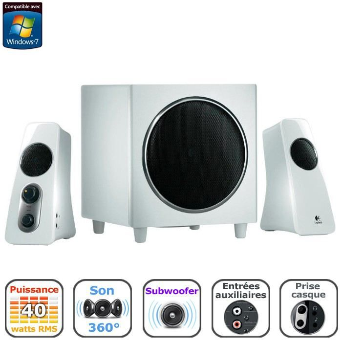 logitech enceintes 2 1 z523 blanc 40w prix pas cher cdiscount. Black Bedroom Furniture Sets. Home Design Ideas
