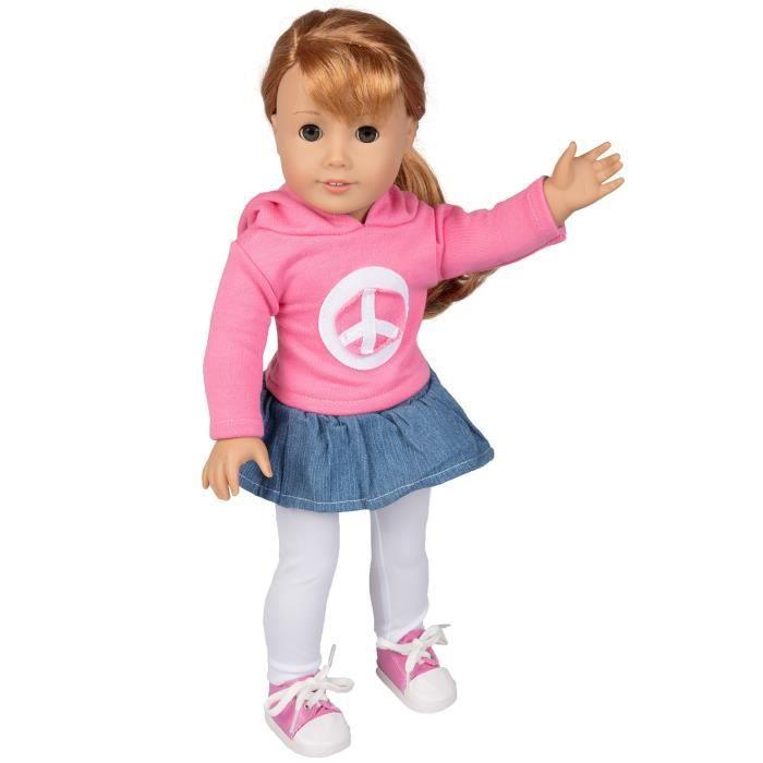 Poupée paix tenue pour poupées American Girl - 4pcs Outfit (comprend Jupe, Sweat-shirt, leggings et S WG07W