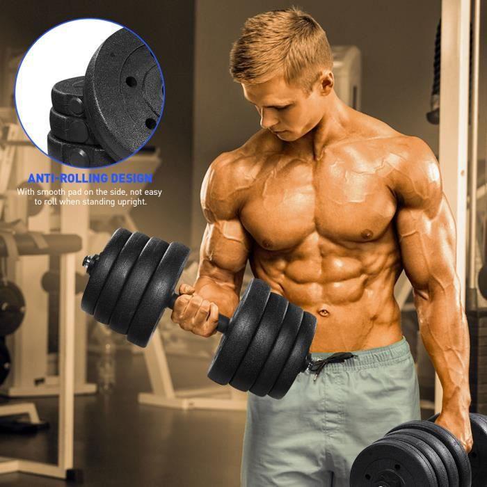Haltère Ensemble 30 kg - D'haltères Musculation Réglable en Fonte