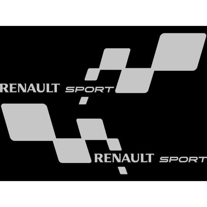 2 Sticker Autocollant Renault Sport Damier GRIS Clio Megane Twingo RS GT par MXSPIRIT