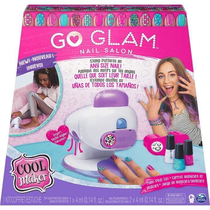 COOL MAKER - Go Glam Nail Stamper Salon - Machine à Manucure Pédicure avec 5 motifs et Vernis Inclus - 6054791 - Jouet Enfant 8 Ans