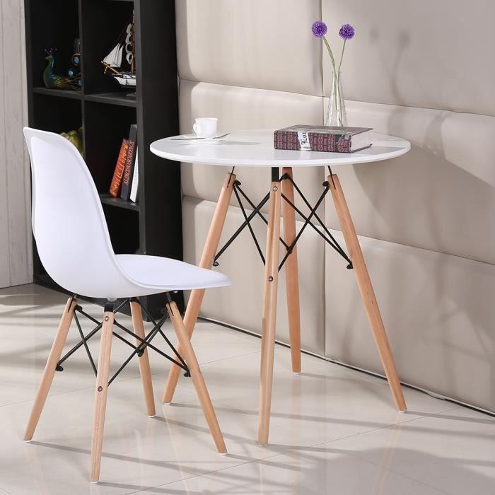 Table à manger ronde style scandinave-nature blanc laqué + pieds en bois hêtre massif - Ø 70 cm