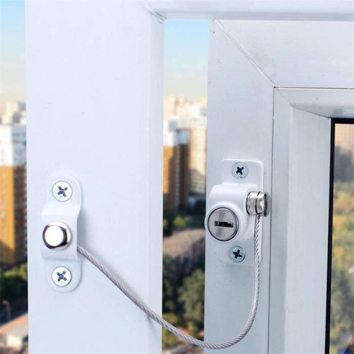 Blanc Fenêtre Porte restricteur de sécurité Verrouillage de sécurité UPVC bébé enfant fil Câble_yy433