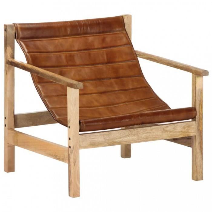Fauteuils club, fauteuils inclinables et chauffeuses lits Fauteuil de relaxation Marron Cuir veritable