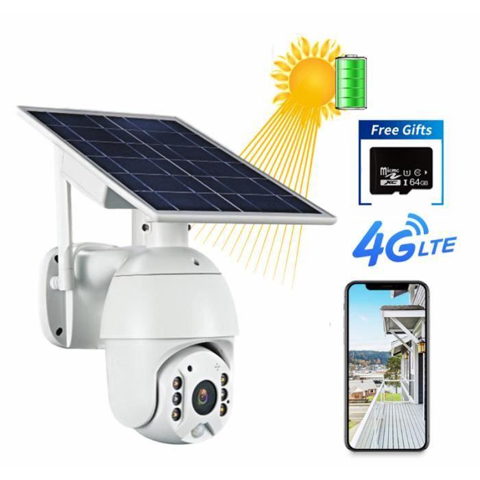 200W Pixels HD IP Caméra 4G Caméra de Sécurité Solaire Sécurité Intérieure Extérieure avec Panneau Solaire