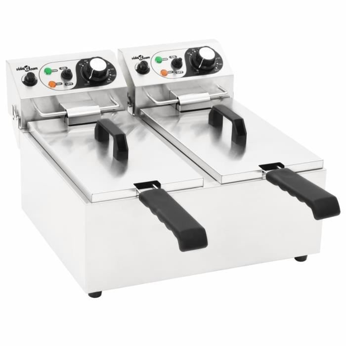 FNCM® Friteuse double électrique Professionnel - Acier inoxydable 12 L 4000 W ❤4025
