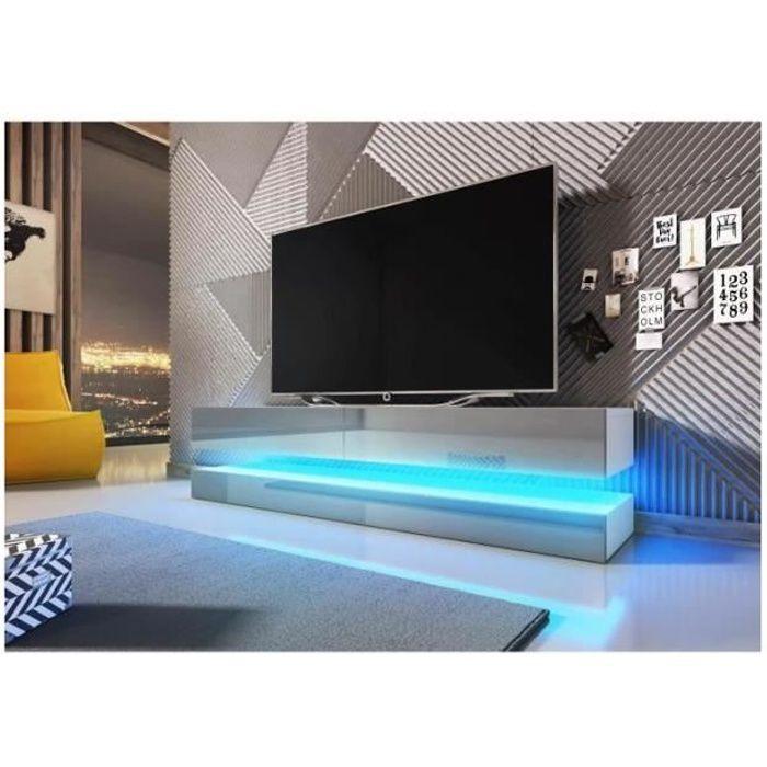 Meuble TV design suspendu FLY 140 cm à 2 tiroirs, coloris blanc mat et gris brillant + led Gris