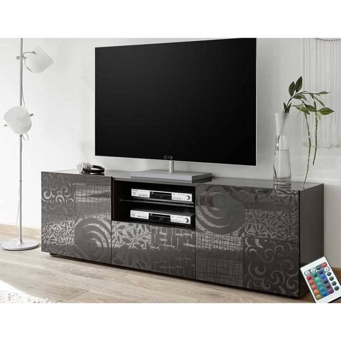 Grand meuble TV laqué anthracite design ELMA 2 Avec éclairage