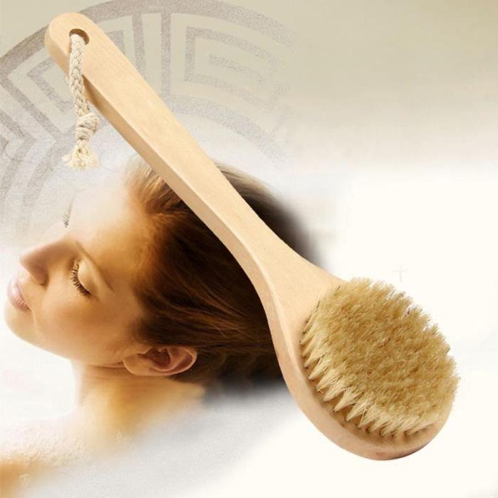 Forme ronde soies de sanglier naturel brosse en bois moyen manche Long en bois Detox manche en bois brosse de corps brosse de peau