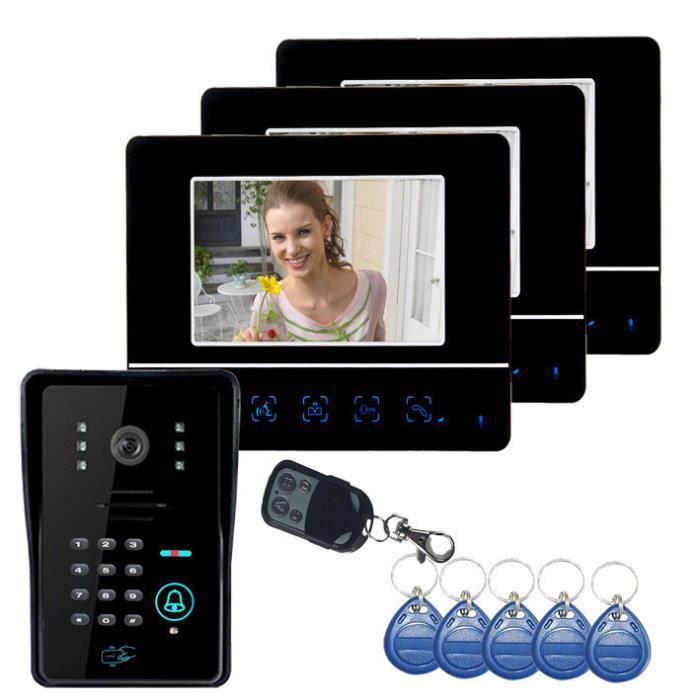 7 -Vidéo Porte Téléphone DoorBell Interphone Système Panneau Tactile Serrure De Porte RFID Porte-clés 1V3