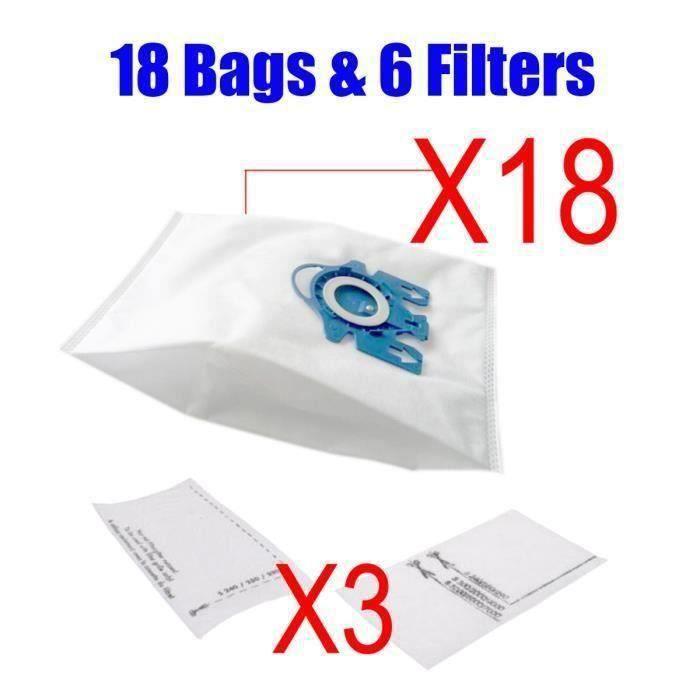 18pcs Aspirateur Sacs à Poussière + 6pcs Filtres Digne Miele 3D GN COMPLET C2 C3 S2 S5 S8 S5210 S5211 S8310 co44451