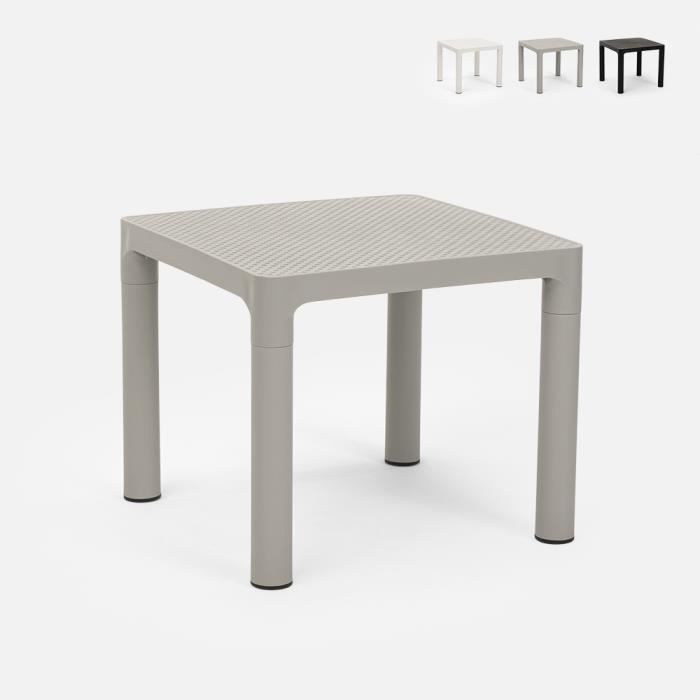 Table basse café bar jardin carré 45x45 cm intérieur extérieur AVIAT - couleur:Gris