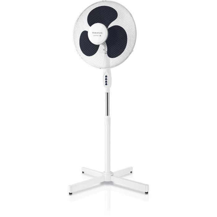 TAURUS Ponent 16C Ventilateur sur pied Ø40 cm - 40 watts - 3 vitesses - Silencieux - Inclinable - Blanc