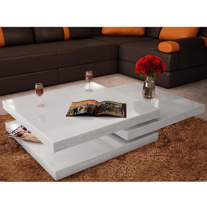 Table basse blanc laqué carrée pivotante 3 plateaux