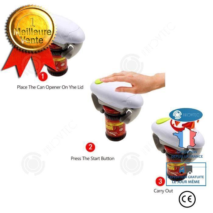 INN® ouvre bocal électrique facile one touch automatique confiture cuisine sans effort plastique magic open ajustable mains libres