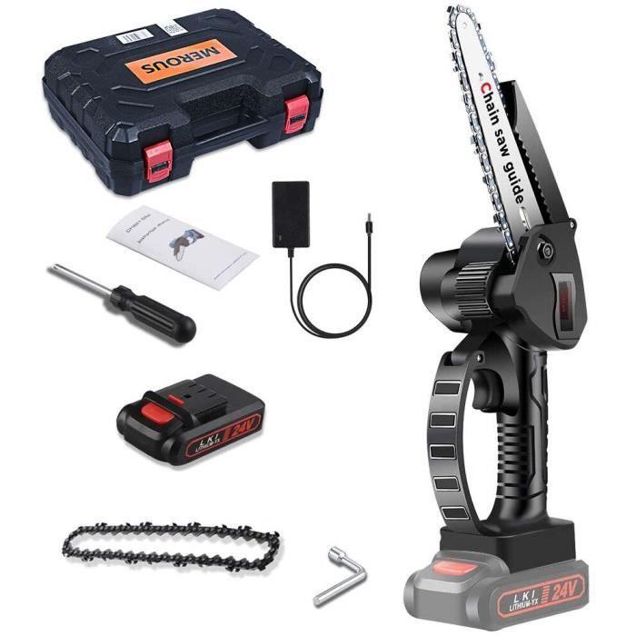 MEROUS Mini tronçonneuse 6 pouces 2 batteries pour une autonomie longue durée (avec boîte à outils)