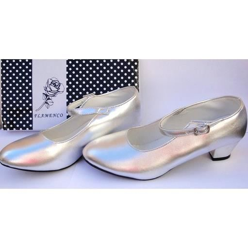 Chaussures escarpin de danse FLAMENCO argenté fille enfant fillette