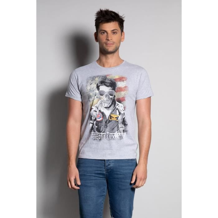 DEELUXE T-shirt col rond avec photo MAVERICKER Light Grey Mel
