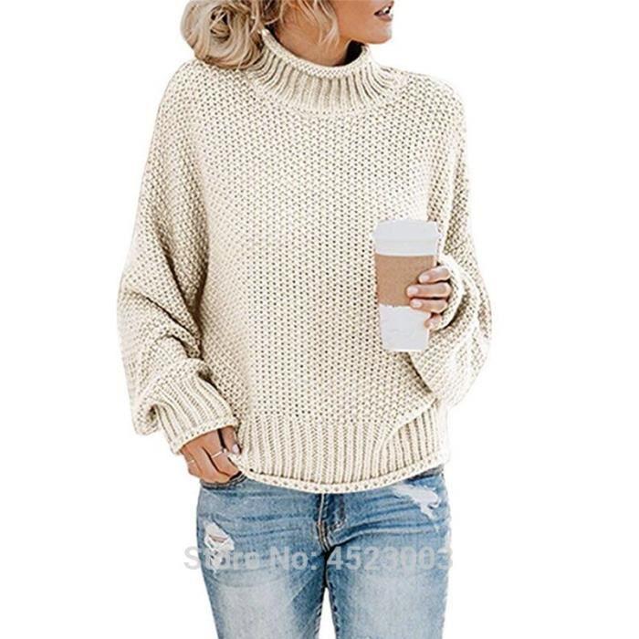 PULL,Chandails surdimensionnés à col roulé pour femmes, manches longues, chauve souris, tricot ample et épais - Type Apricot