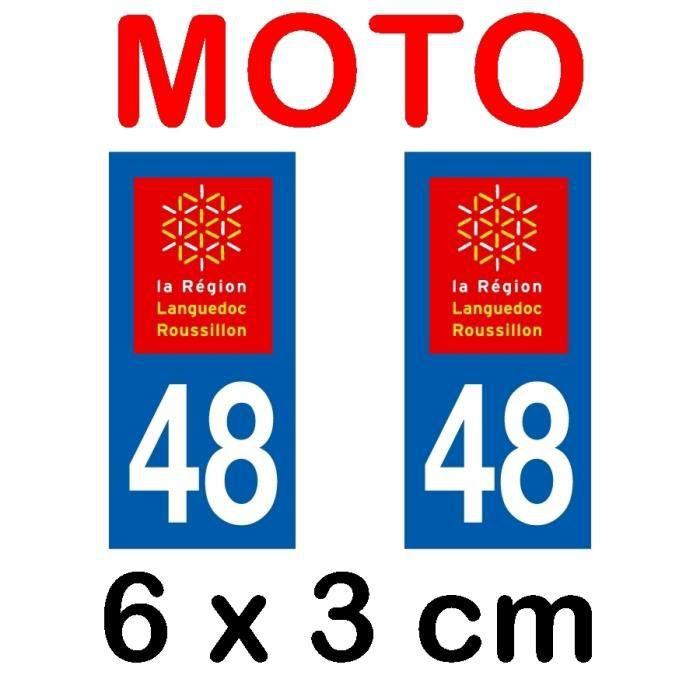 Autocollant plaque immatriculation moto dpt 48 Lozère