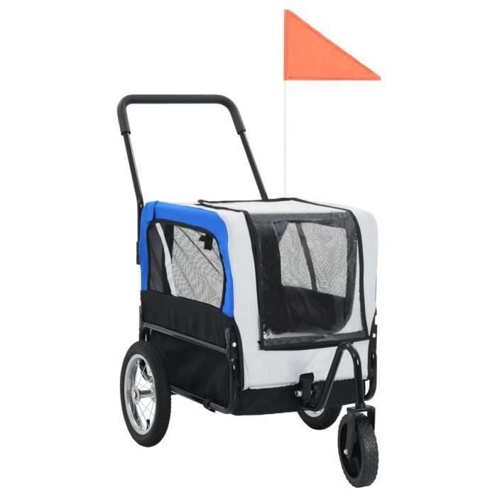 Remorque de vélo pour chiens et poussette 2-en-1 Gris et bleu