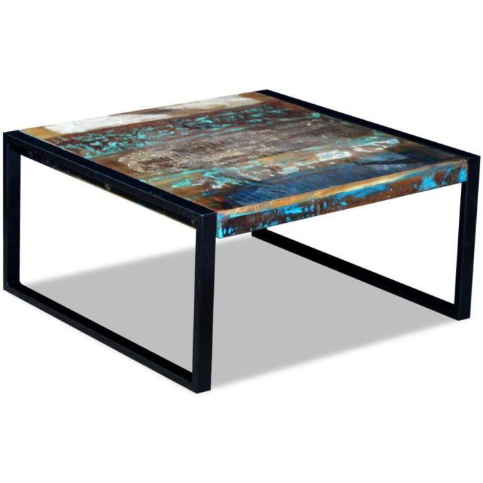 Economique Haute qualité Table basse 80 x 80 x 40 cm en bois de récupération massif