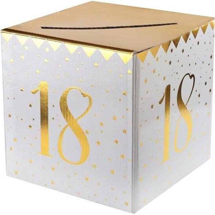 Boîte pour carte de fête anniversaire 18 ans blanche et dorée métallisée (x1) R/6186