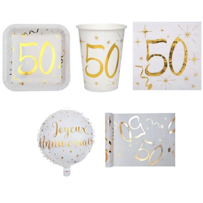 1 Pack anniversaire 50ans pour 10 personnes blanc et or