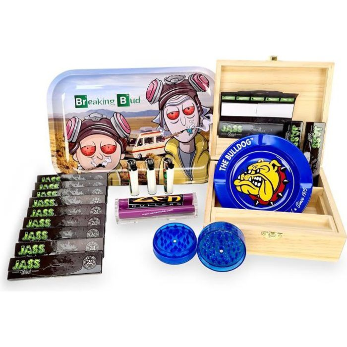 Pack FUMEUR BoX XL + Plateau Breaking BuD XL + 12 paquets Feuilles/Tips + Rouleuse + Cendrier Bulldog + Grinder + 3 Clippers
