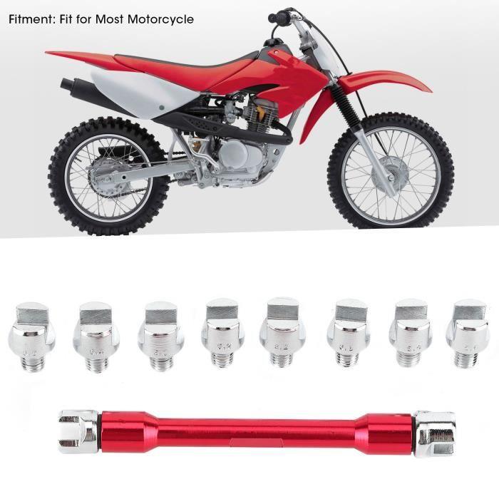 VBESTLIFE clé à rayons à poignée CNC à rayons de moto Ensemble de 5.0-6.8 longueur 93mm / 3.7in(rouge)
