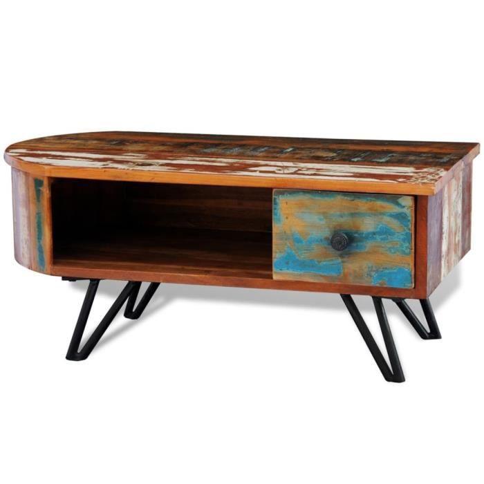 Table basse en bois recyclé solide avec pieds broche en fer Brun