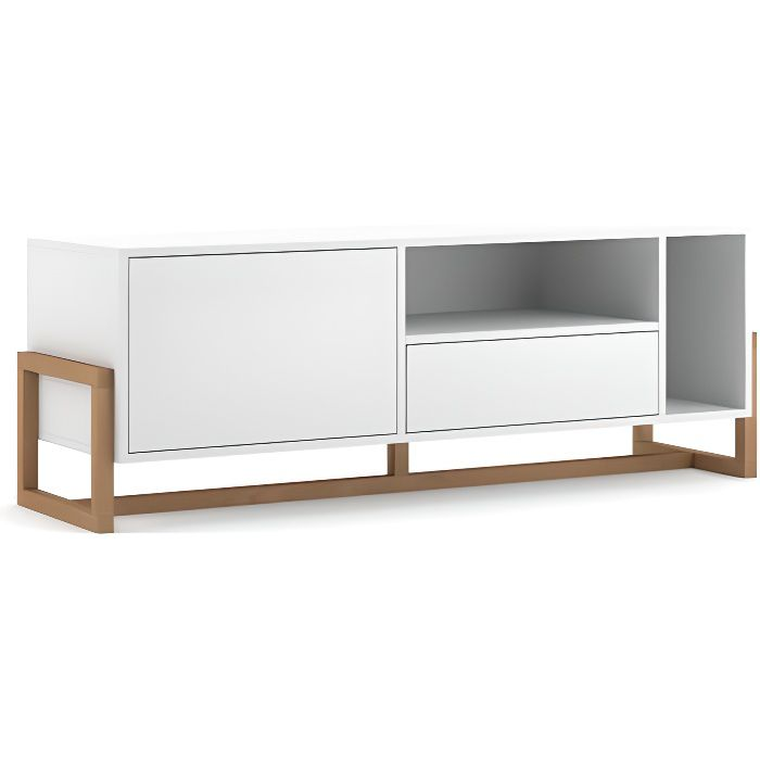 VIVALDI Meuble TV - OSLO - 140 cm - blanc mat - style moderne