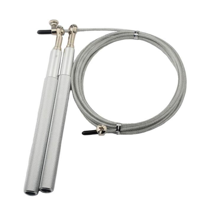 Corde à sauter fil d'acier adulte en alliage d'aluminium course saut de poids cordes à sauter musculation (Argent)