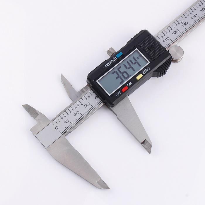 PIED À COULISSE 0-200mm LCD Numérique Vernier Calibre Acier Inoxyd