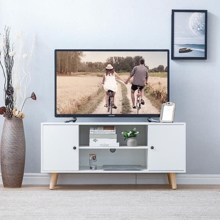 Babette Meuble Tv Scandinave Decor Blanc Pieds En Bois 2 Placards Et De 2 Etageres Achat Vente Meuble Tv Babette Meuble Tv Scandinav Cdiscount